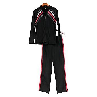 Masseys Set Women's Chevron-Striped Track Suit Black
