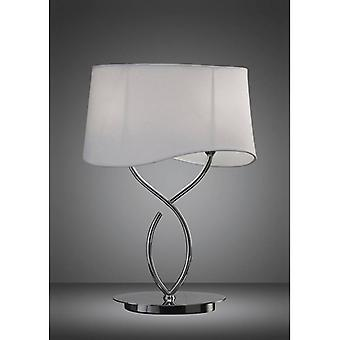 Ninette Table Lamp 2 Bulbs E14 Large, Polished Chrome With Ivory White Lampshade