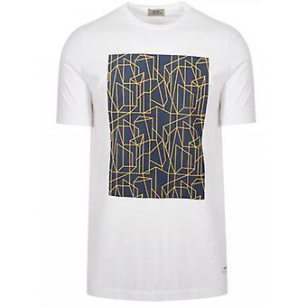 CC Collection Corneliani White Geometric Print Logo T-Shirt