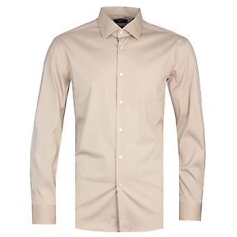 Boss Jango Cotton Slim Fit Beige Stretch Shirt