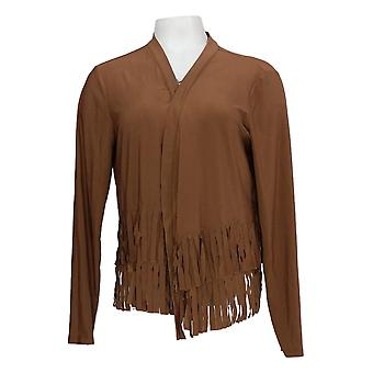 Attitudes by Renee Women's Top Como Jersey Fringe Brown A376502