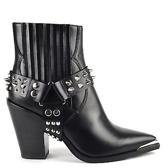 Ash BANG SPUR Boots Black Leather And Studs