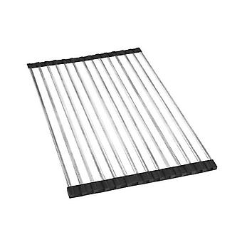 Stainless Steel Sink Kitchen Dish Drainer Foldable Drying Roll Up Rack
