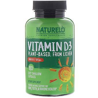 NATURELO, Vitamin D3, Plant Based, 5000 IU/125 mcg, 180 Easy Swallow Capsules
