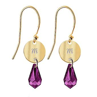Ah! Jewellery 24K Gold Over Sterling Silver Disc Initial 'M' Earrings With Amethyst Drop Pendant Crystals From Swarovski, Stamped 925.