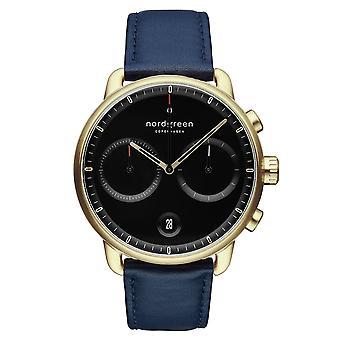 Nordgreen PI42GOLENABL Black Dial Blue Leather Strap Wristwatch