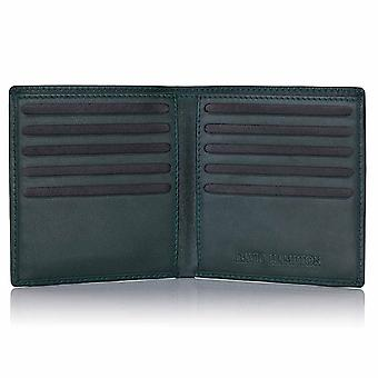 Green Label Luxury Leather Credit Card Wallet in Green