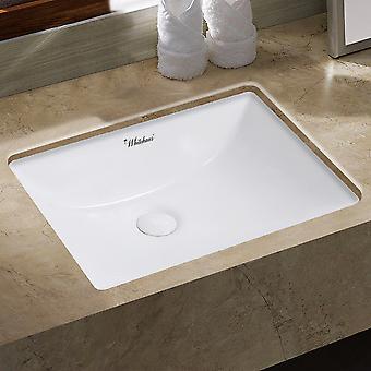 Isabella Plus Collection 21 pouces bassin rectangulaire sous-montage avec débordement et drain central arrière - Blanc