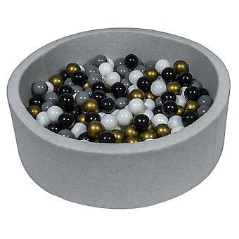 Poço de bola 90 cm com 200 bolas pretas, brancas, douradas e cinza