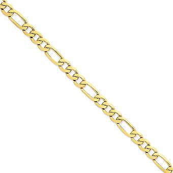 14 k giallo oro solido lucido aragosta artiglio chiusura 8,75 mm catena Figaro piana cavigliera - 9 pollici - moschettone