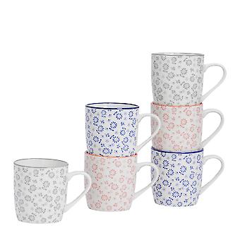 Nicola Spring 6 Piece Daisy Patterned Tea and Coffee Mug Set - Small Porcelain Cappuccino Cups - 3 Colours - 280ml
