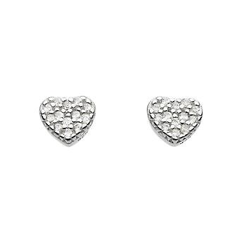 Dew Sterling Silver Cubic Zirconia Small Heart Stud Earrings 38762CZ020