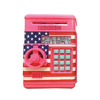 Mini Piggy Bank ATM Password Money Box Coins Cash Saving