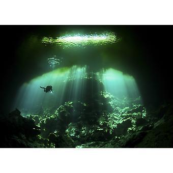 En dykare i Edens lustgård cenote systemet i Mexiko affisch Skriv
