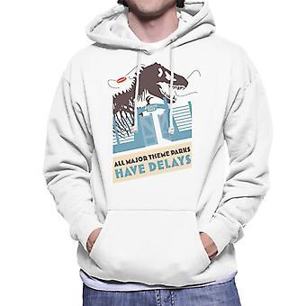 Jurassic Park T Rex All Major Theme Parks Have Delays Men's Hooded Sweatshirt