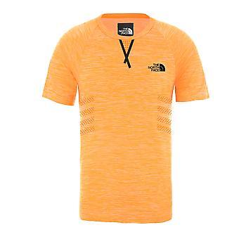 The North Face Snabb Vandring Sömlös Mens Konditionsträning T-shirt Topp Tee Orange