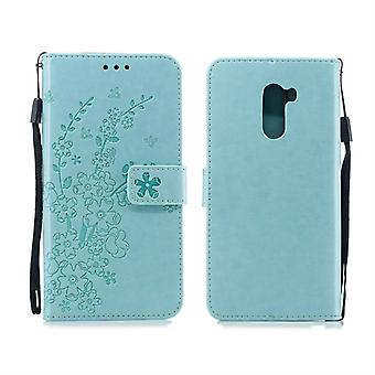 For Xiaomi Pocophone F1 Plum Flowers Pattern Horizontal Flip Leather Case with Holder & Card Slots & Wallet & Lanyard(Green)
