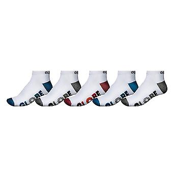 Globe Multi Stripe 5 Pack Ankle Socks - White