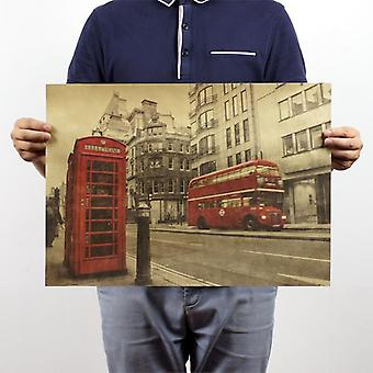 London Red Bus and Telephone Booth Vintage Kraft Paper Poster Home Décor