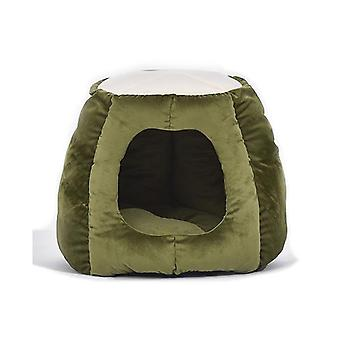 Pet Bed Castle Igloo Round Nest Comfy Kennel Cave Green