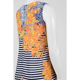 Sangria Scoop Neck Sleeveless Keyhole Back Multi Print Crêpe Dress
