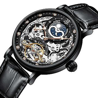 Skeleton Mechanical Automatic Watch, Men Tourbillon Sport Clock Casual Business