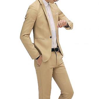 2pcsオフィスビジネスメンズロングスリーブスリムブレザーパンツスーツ