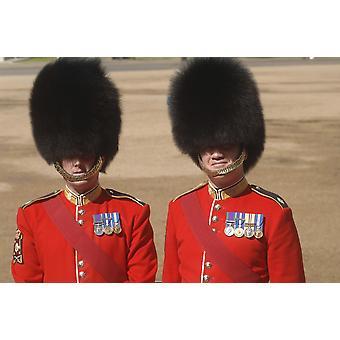 Optio virkamiehet Irish Guards aikana viime harjoitukset Trooping väri-seremonia Lontoo Englanti Juliste Tulosta