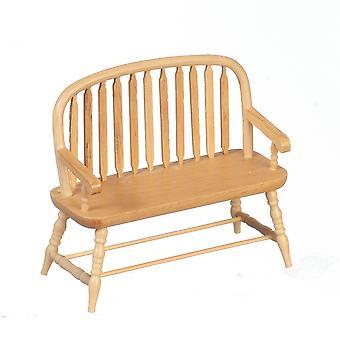 Dolls House Oak Wood Colonial Windsor Bench Miniature 1:12 Scale Furniture