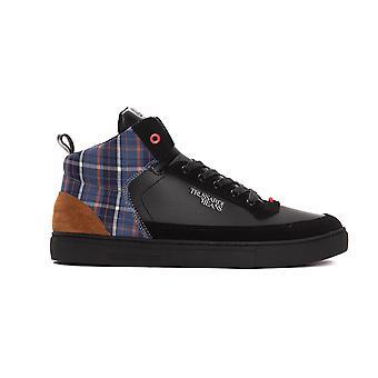 Trussardi Jeans Nero Black Calf Leather Hi Top Sneakers