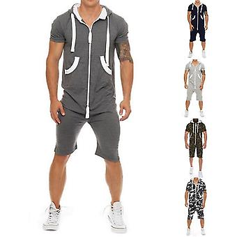 Summer Casual Tracksuit Jumpsuit Mens Sleeve Hoodies Gym Short Pants