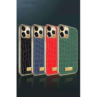 iPhone 12 Pro Kuori Aito Nahka Krokotiili Kuvio Kullattu Korkea Luxury
