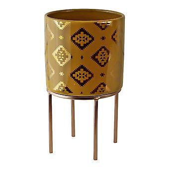 Small Kasbah Design Ceramic Planter, Yellow