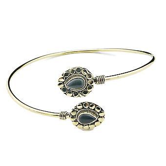 Bracelet supérieur bracelet en laiton d'or onyx noir (932-07-004-03)