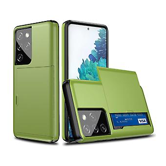 VRSDES Samsung Galaxy S21 Ultra - Wallet Card Slot Cover Case Case Business Green