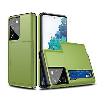 VRSDES Samsung Galaxy S21 Ultra - Lompakkokorttipaikan kansikotelo Business Green