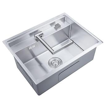 Hidden Kitchen Sinks With Folded Faucet, Stainless Steel Double Bowl, Above