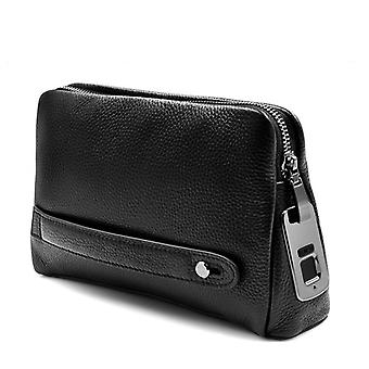 Men's Fingerprint Leather Hand Bag (noir)