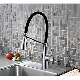 Cold And Hot Water Pull Type Kitchen Faucet With Single Handle Protective Sleeve