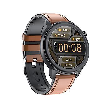 Smart ur til unisex, 1,3 '' armbånd, vandtæt, blodtryk, puls, kropstemperatur og fysisk aktivitetsmonitor til Android IOS-Brown