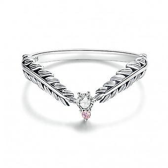 Sterling Silber Ring Federn - 7058