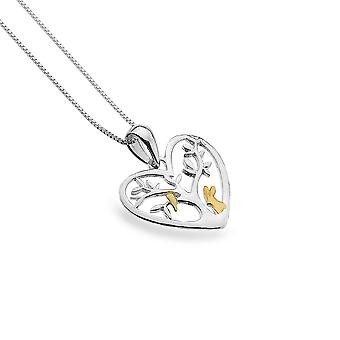 Sterling Silver Pendant Necklace - Origins Heart + Tree + Rabbit + Gold Plated