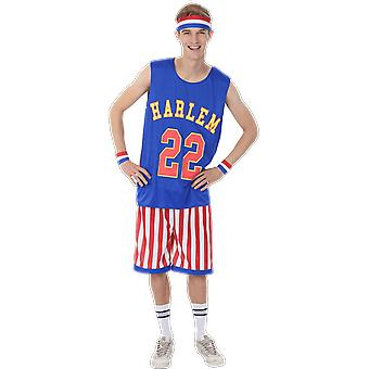 Mens Harlem Globetrotters basket tröja sport team fancy Dress kostym
