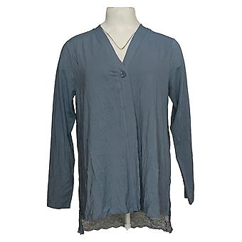 LOGO By Lori Goldstein Women's Sweater Cardigan With Lace Blue A389925