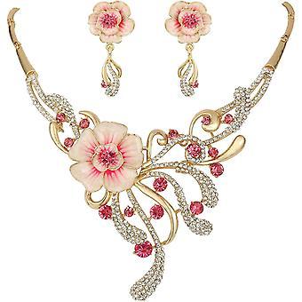 FengChun Damen sterreichischen Kristall Elegante Frhling Hibiskus Blume Halskette Ohrringe Set