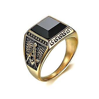 Meister Maurer schwarz Stein Titan gold Farbe Freimaurerring