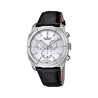 Quartz men's watch with Display with chronograph and black leather strap C4582/1