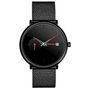 SUPBRO Ultra thin men's watches with minimalist black quartz with black mesh strap(3)