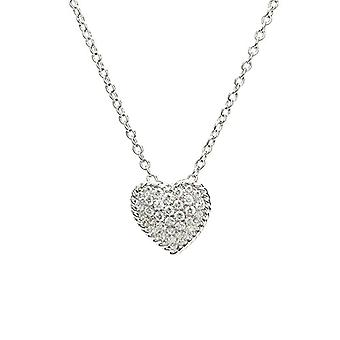 Eye Candy ECJ-NL0075, women's necklace, silver sterling 925 rhodium, heart-shaped pendant with white zircon, 45 cm
