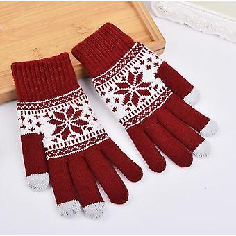 Kvinder Vinter Varm Fortykkelse Uld Strikket Flip Fingerless Handsker